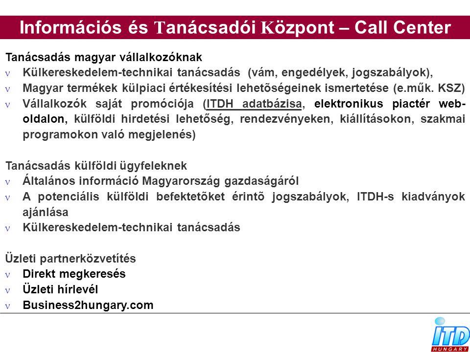 Információs és T anácsadói K özpont – Call Center Tanácsadás magyar vállalkozóknak Külkereskedelem-technikai tanácsadás (vám, engedélyek, jogszabályok