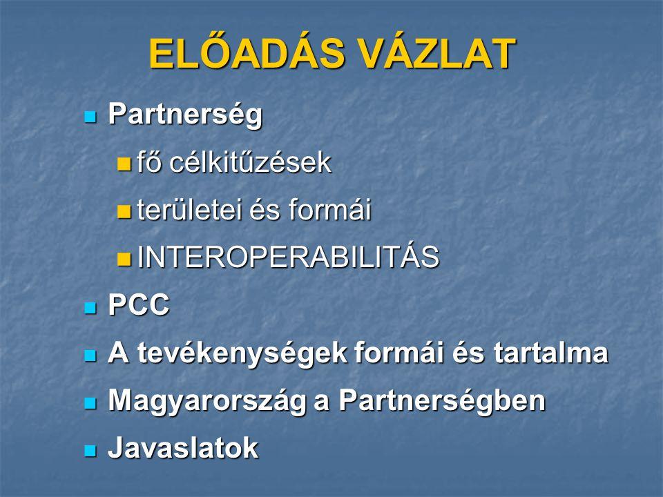 ELŐADÁS VÁZLAT Partnerség Partnerség fő célkitűzések fő célkitűzések területei és formái területei és formái INTEROPERABILITÁS INTEROPERABILITÁS PCC PCC A tevékenységek formái és tartalma A tevékenységek formái és tartalma Magyarország a Partnerségben Magyarország a Partnerségben Javaslatok Javaslatok
