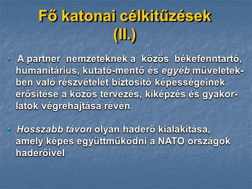 JAVASLATOK Hosszútávu katonai célok kialakítása Hosszútávu katonai célok kialakítása PARP-központú tervezés PARP-központú tervezés Prioritások felállítása Prioritások felállítása Kétoldalúak igénybevétele Kétoldalúak igénybevétele A nemzetközi kapcsolatok céltudatos felhasználása A nemzetközi kapcsolatok céltudatos felhasználása Előrelátás - a felkészítés megkezdése érdekében Előrelátás - a felkészítés megkezdése érdekében PfP tevékenységbe történő bekapcsoló- dás személyügyi előkészítése PfP tevékenységbe történő bekapcsoló- dás személyügyi előkészítése