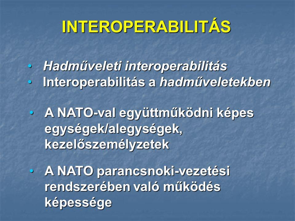 INTEROPERABILITÁS Hadműveleti interoperabilitás Hadműveleti interoperabilitás Interoperabilitás a hadműveletekben Interoperabilitás a hadműveletekben A NATO-val együttműködni képes egységek/alegységek, kezelőszemélyzetekA NATO-val együttműködni képes egységek/alegységek, kezelőszemélyzetek A NATO parancsnoki-vezetési rendszerében való működés képességeA NATO parancsnoki-vezetési rendszerében való működés képessége