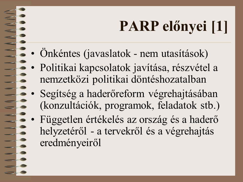 PARP előnyei [1] Önkéntes (javaslatok - nem utasítások) Politikai kapcsolatok javítása, részvétel a nemzetközi politikai döntéshozatalban Segítség a haderőreform végrehajtásában (konzultációk, programok, feladatok stb.) Független értékelés az ország és a haderő helyzetéről - a tervekről és a végrehajtás eredményeiről