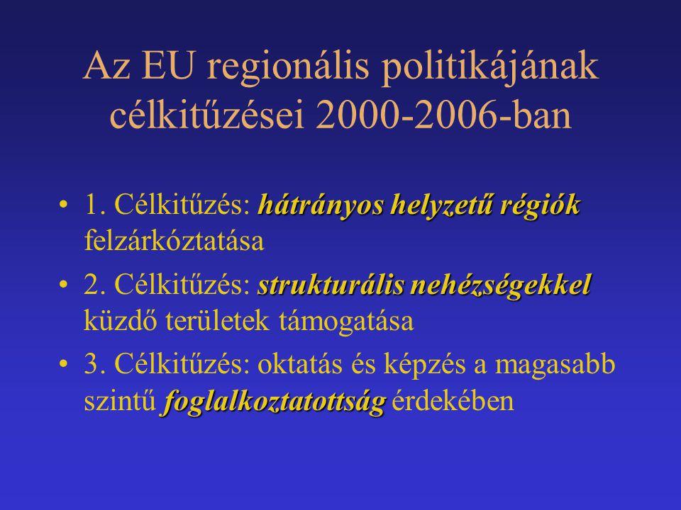 Az EU regionális politikájának célkitűzései 2000-2006-ban hátrányos helyzetű régiók1. Célkitűzés: hátrányos helyzetű régiók felzárkóztatása strukturál