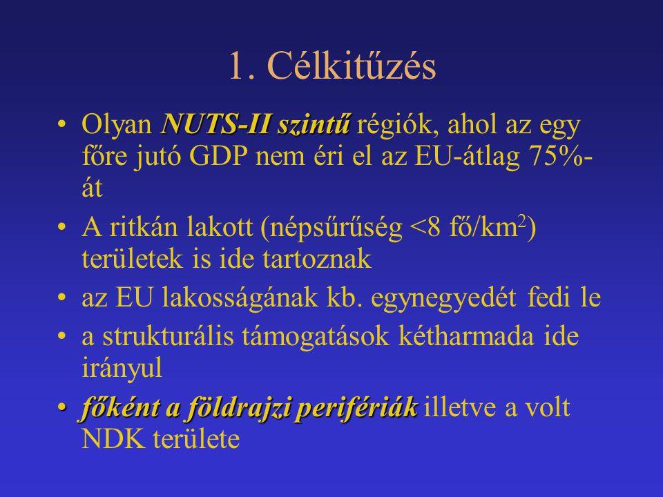 1. Célkitűzés NUTS-II szintűOlyan NUTS-II szintű régiók, ahol az egy főre jutó GDP nem éri el az EU-átlag 75%- át A ritkán lakott (népsűrűség <8 fő/km