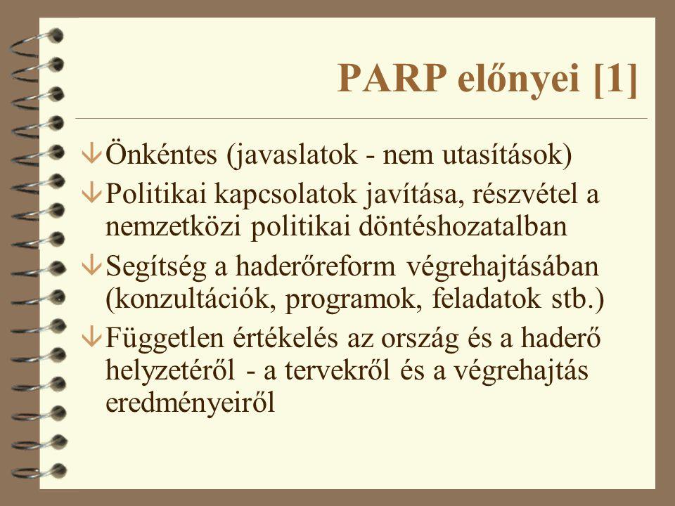 PARP előnyei [2] 4 Nagyobb átláthatóság 4 A folyamatba való részvétel eredményeként a NATO és a Partnerek többet tudnak egymásról - értékesebb lesz az együttműködés 4 Tapasztalatcsere 4 Részvétel az egységesítésben - gazdaságosság 4 A struktúra-átalakítás az elsődleges, nem a technikai fejlesztés 4 NATO tagságra való felkészülés