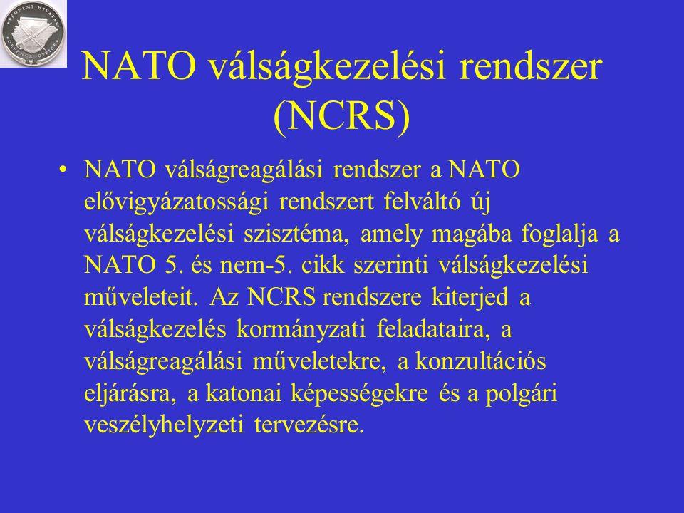 NATO válságkezelési rendszer (NCRS) NATO válságreagálási rendszer a NATO elővigyázatossági rendszert felváltó új válságkezelési szisztéma, amely magáb