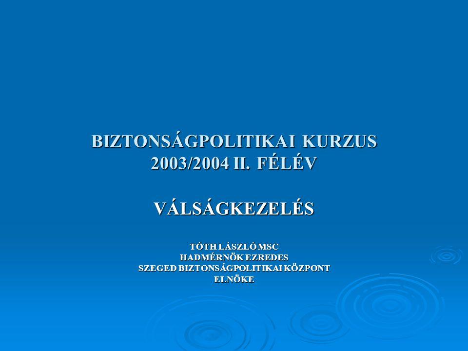 BIZTONSÁGPOLITIKAI KURZUS 2003/2004 II.