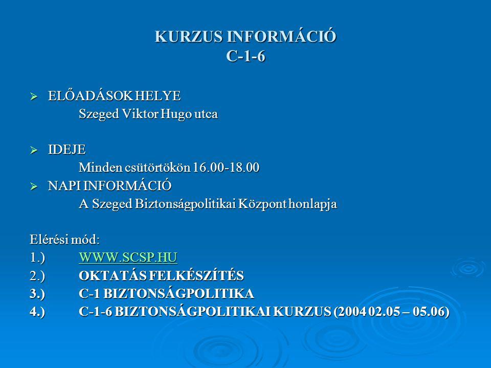 KURZUS INFORMÁCIÓ C-1-6  ELŐADÁSOK HELYE Szeged Viktor Hugo utca  IDEJE Minden csütörtökön 16.00-18.00  NAPI INFORMÁCIÓ A Szeged Biztonságpolitikai Központ honlapja Elérési mód: 1.)WWW.SCSP.HU WWW.SCSP.HU 2.)OKTATÁS FELKÉSZÍTÉS 3.)C-1 BIZTONSÁGPOLITIKA 4.)C-1-6 BIZTONSÁGPOLITIKAI KURZUS (2004 02.05 – 05.06)