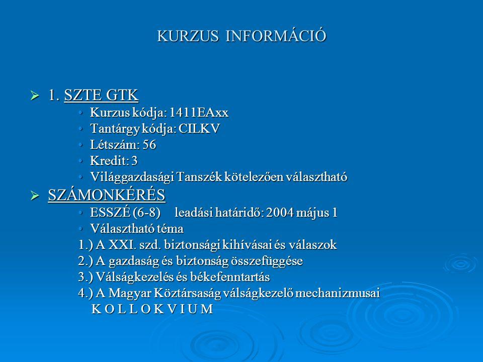 KURZUS INFORMÁCIÓ  1.