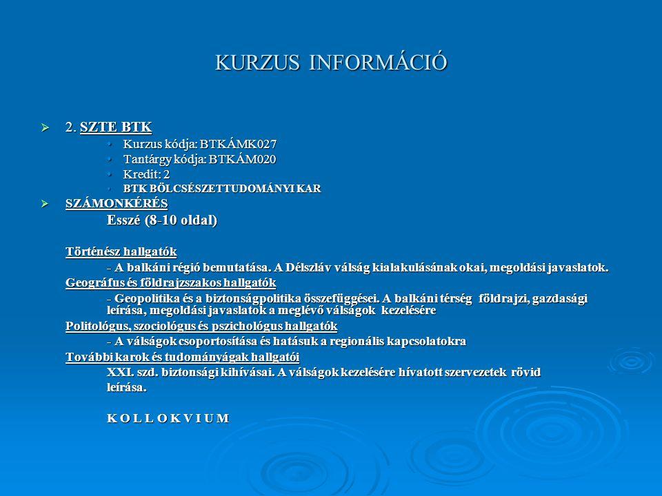 KURZUS INFORMÁCIÓ  2.