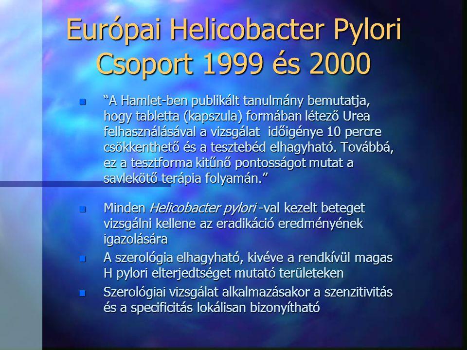 """Európai Helicobacter Pylori Csoport 1999 és 2000 n """"A Hamlet-ben publikált tanulmány bemutatja, hogy tabletta (kapszula) formában létező Urea felhaszn"""