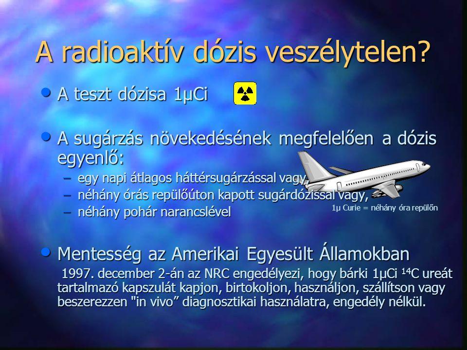 A radioaktív dózis veszélytelen? A teszt dózisa 1µCi A teszt dózisa 1µCi A sugárzás növekedésének megfelelően a dózis egyenlő: A sugárzás növekedéséne