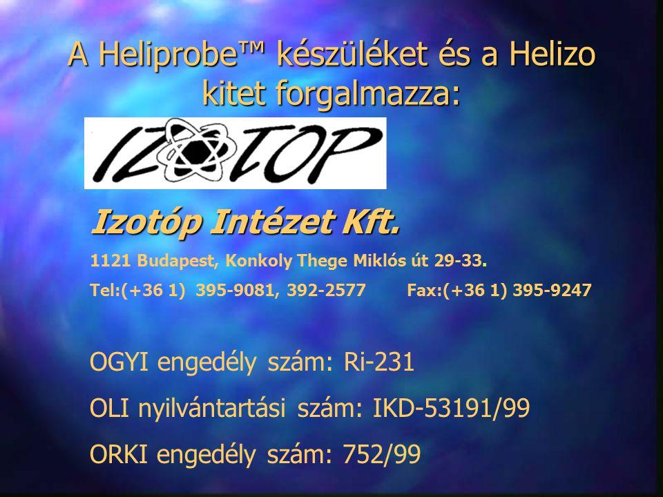A Heliprobe™ készüléket és a Helizo kitet forgalmazza: Izotóp Intézet Kft. 1121 Budapest, Konkoly Thege Miklós út 29-33. Tel:(+36 1) 395-9081, 392-257