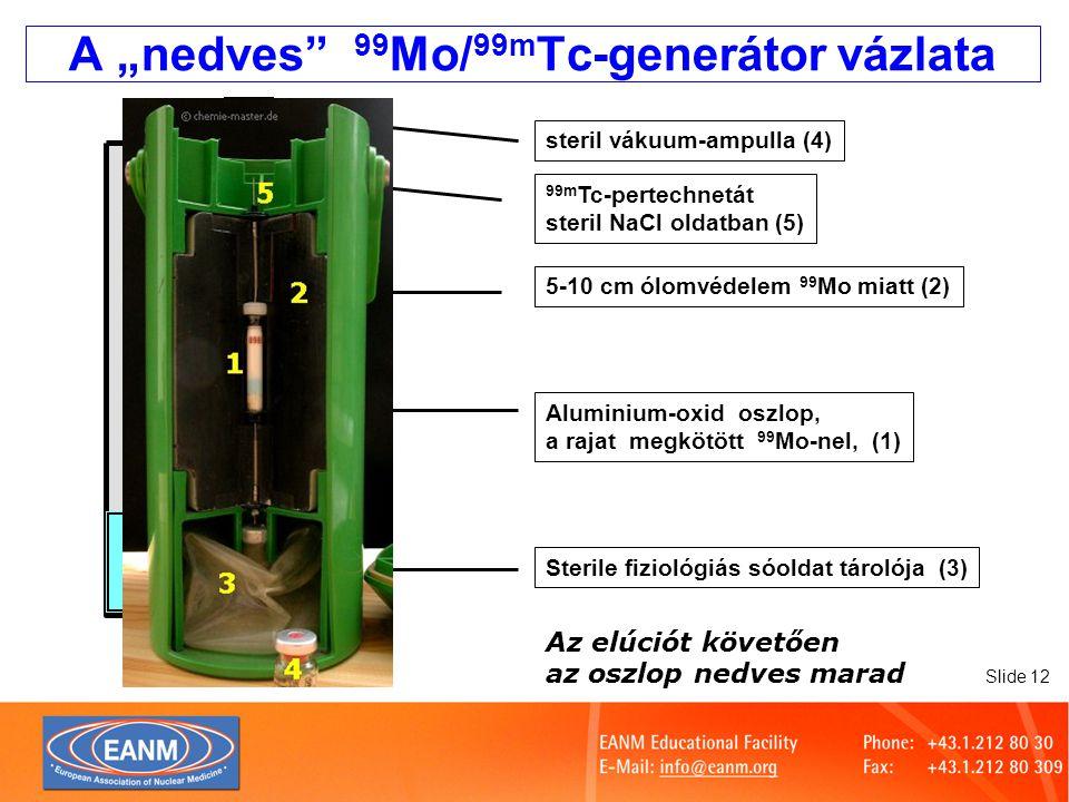 """Slide 13 A """"száraz technécium-generátor eluciója Szúrja fel a steril, fiziológiás NaCl oldatot tartalmazó ampullát Helyezze be a vákuumampullát az ólomvédelembe (""""fejőtokba ) Szúrja fel a vákuumampullát, várja meg, míg az elúció teljesen végbemegy Távolítsa el az eluátumot tartalmazó ampullát, majd helyezze fel a tűre a védőampullát vagy kupakot Az elúciók közötti időben a kolonna száraz marad"""