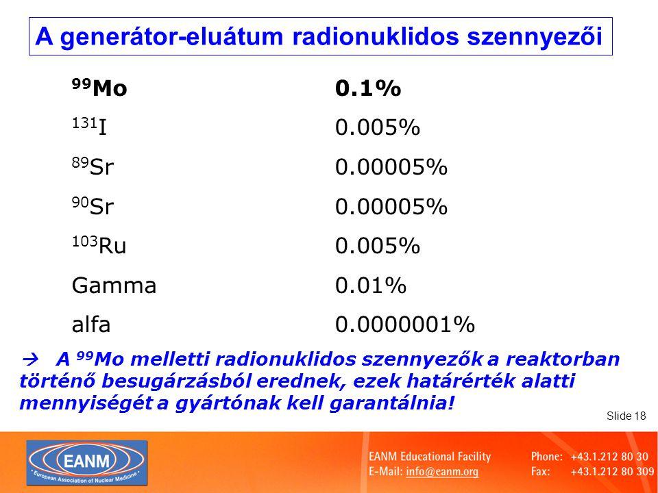 Slide 19 Alumínium-áttörés A generátor-kolonna szívárgásából adódik A készítmények minőségét befolyásolhatja, elsősorban a jelzett vérsejtekét és a kolloidokét Színreakción alalpuló gyosteszttel vizsgálható