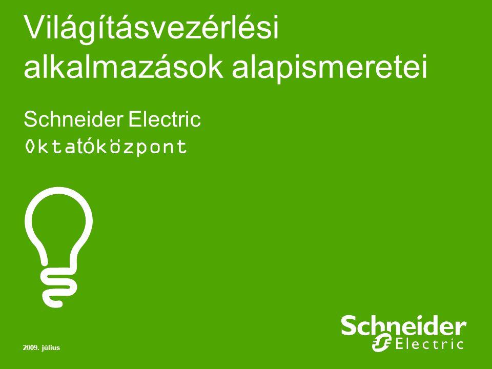 Schneider Electric 2 Világításvezérlési alkalmazások alapismeretei Ismerje meg a jelenlegi a világításvezérlési igényeket és megoldásokat Egyáramkörös kapcsoló Váltókapcsoló Világításkapcsolás három vagy több helyről Mágneskapcsolók Időzítők Időkapcsolók Alkonykapcsolók Folyamatos világítás