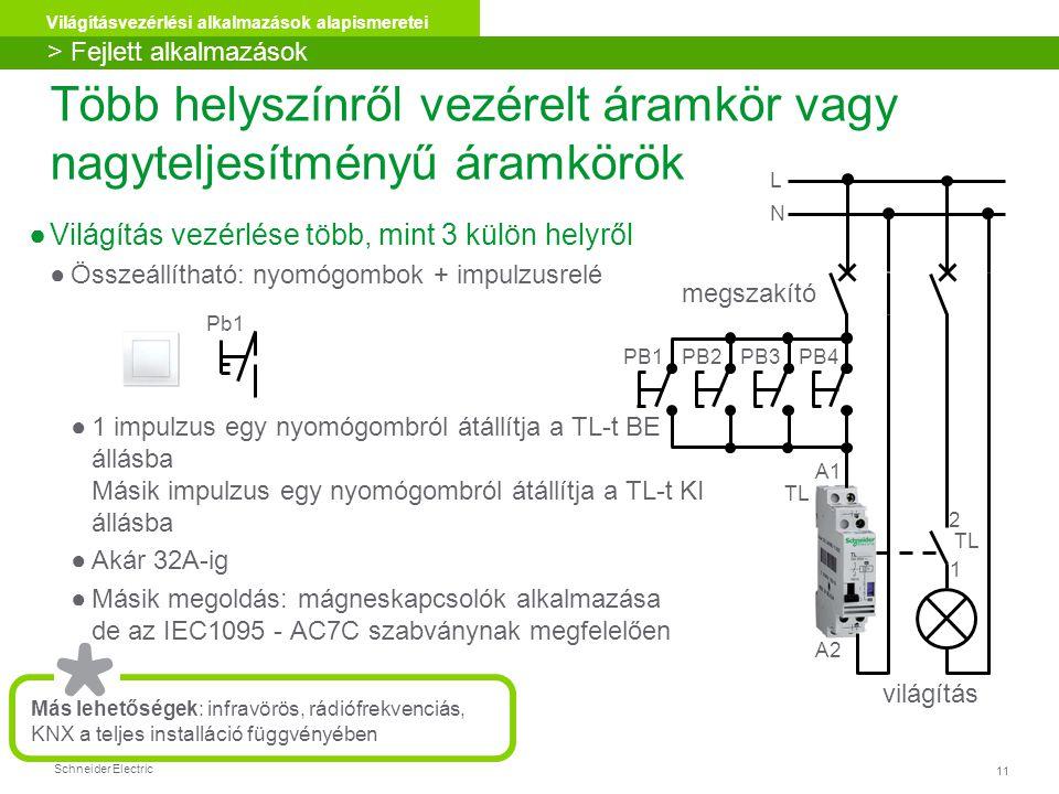 Schneider Electric 11 Világításvezérlési alkalmazások alapismeretei Több helyszínről vezérelt áramkör vagy nagyteljesítményű áramkörök ●Világítás vezérlése több, mint 3 külön helyről ●Összeállítható: nyomógombok + impulzusrelé ●1 impulzus egy nyomógombról átállítja a TL-t BE állásba Másik impulzus egy nyomógombról átállítja a TL-t KI állásba ●Akár 32A-ig ●Másik megoldás: mágneskapcsolók alkalmazása de az IEC1095 - AC7C szabványnak megfelelően Más lehetőségek: infravörös, rádiófrekvenciás, KNX a teljes installáció függvényében > Fejlett alkalmazások Pb1 világítás L N megszakító PB1PB2PB3PB4 A1 A2 2 1 TL