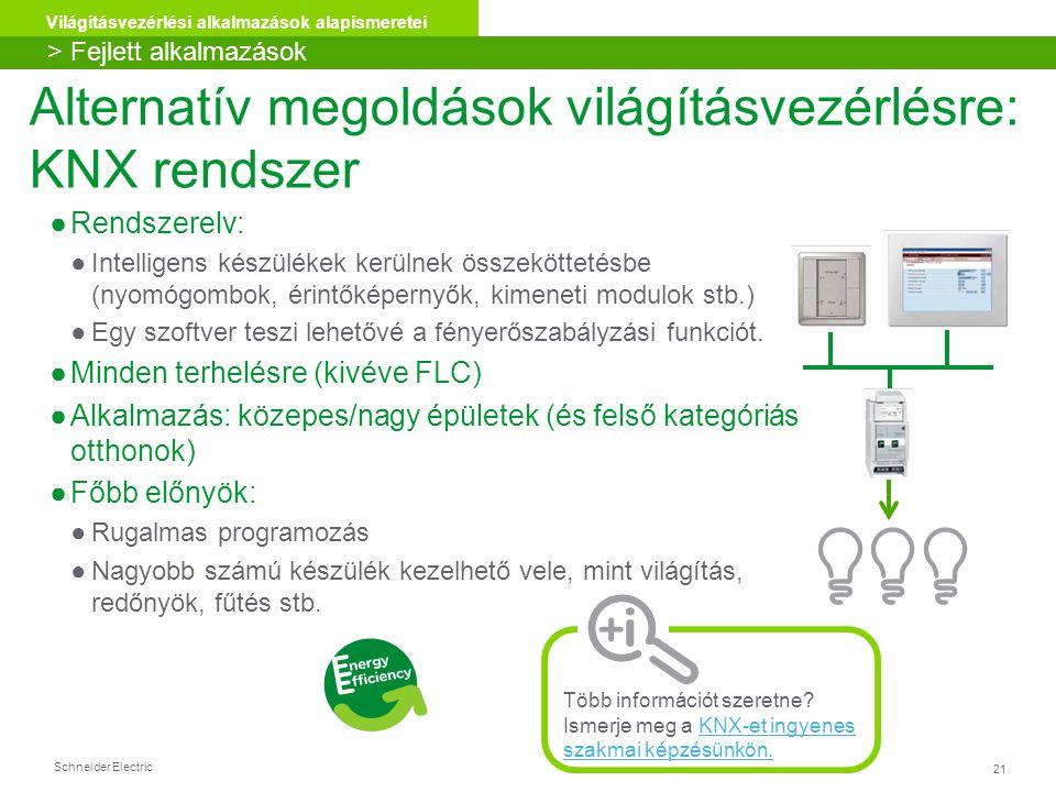 Schneider Electric 21 Világításvezérlési alkalmazások alapismeretei Alternatív megoldások világításvezérlésre: KNX rendszer ●Rendszerelv: ●Intelligens készülékek kerülnek összeköttetésbe (nyomógombok, érintőképernyők, kimeneti modulok stb.) ●Egy szoftver teszi lehetővé a fényerőszabályzási funkciót.