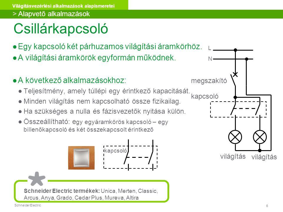 Schneider Electric 27 Világításvezérlési alkalmazások alapismeretei Tanúsítványokkal, csoportosításokkal, színekkel, funkciókkal kapcsolatban, kérjük keresse az anyagokat weboldalunkon: www.schneider-electric.hu Unica, Merten, Classic, Arcus, Anya, Grado, Cedar Plus, Mureva beltérkültér műanyag üveg rozsdamentes acél réz > Alapvető alkalmazások Fali szerelvények alapvető világítási alkalmazásokhoz