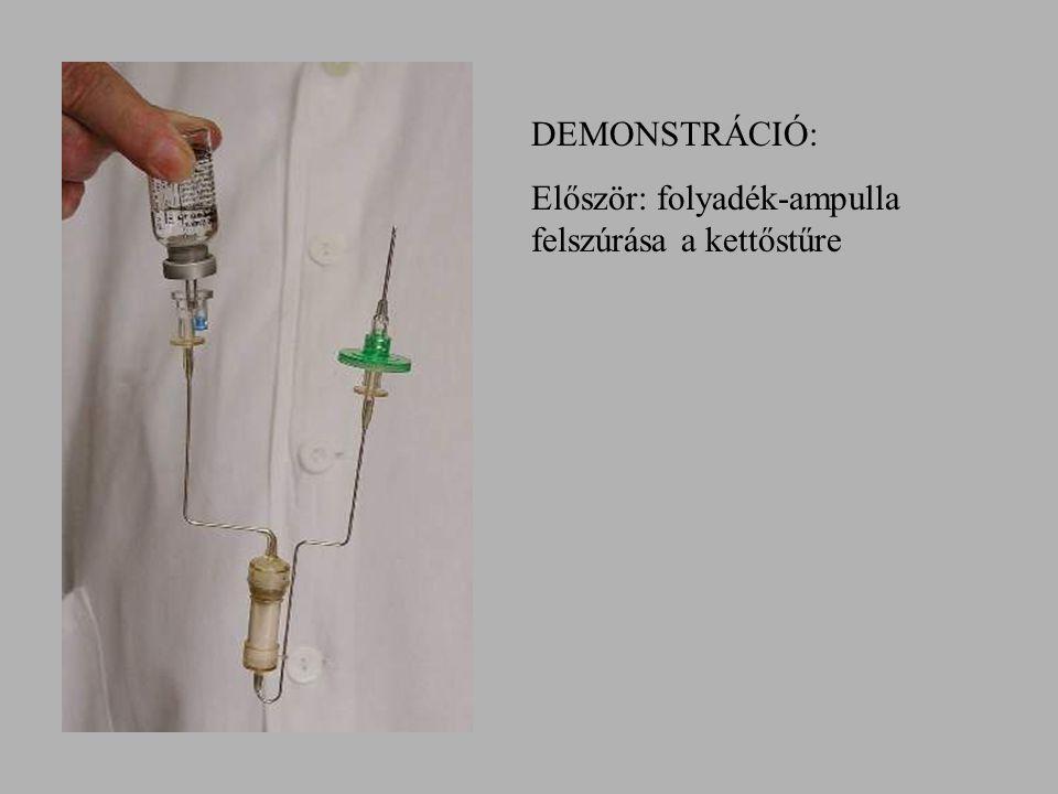 DEMONSTRÁCIÓ: Először: folyadék-ampulla felszúrása a kettőstűre