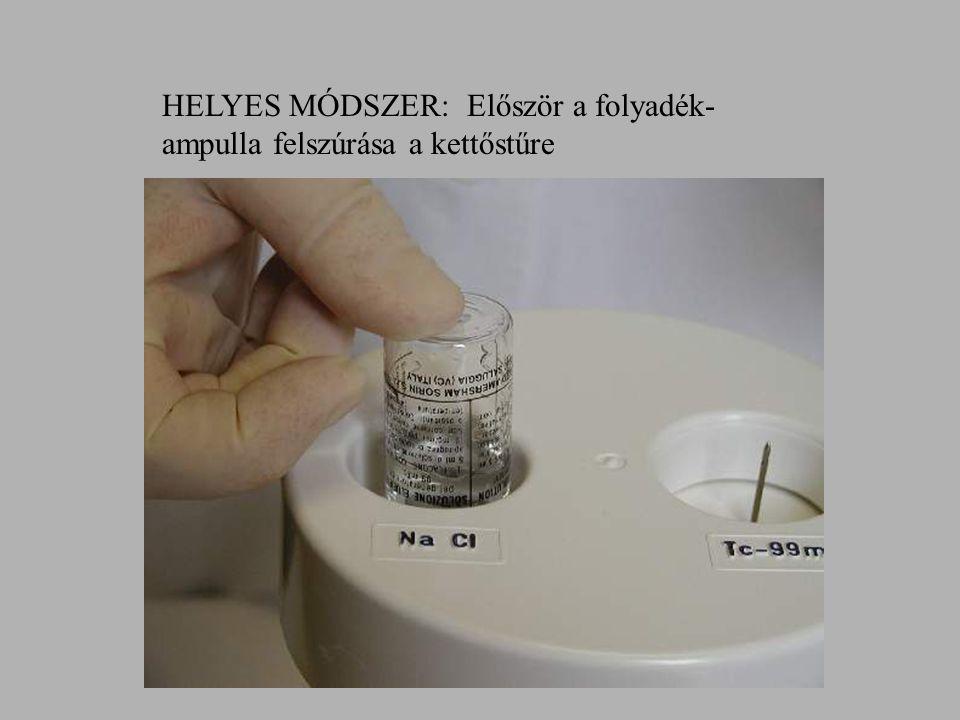 HELYES MÓDSZER: Először a folyadék- ampulla felszúrása a kettőstűre