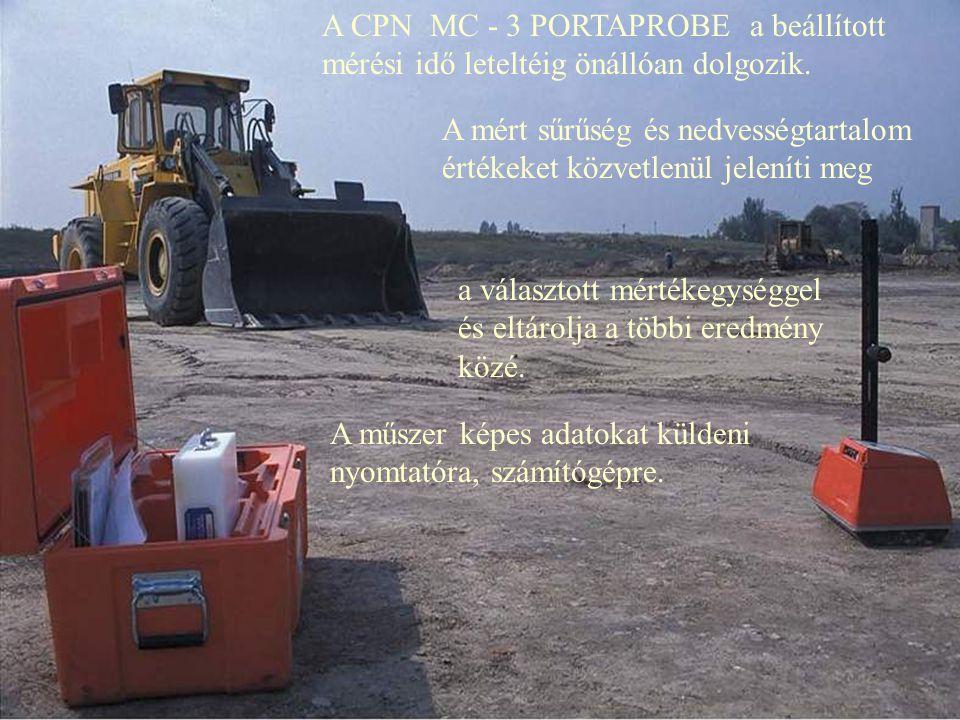 Az MC-3 PORTAPROBE képernyője és billentyűzete egyszerű kezelést tesz lehetővé.