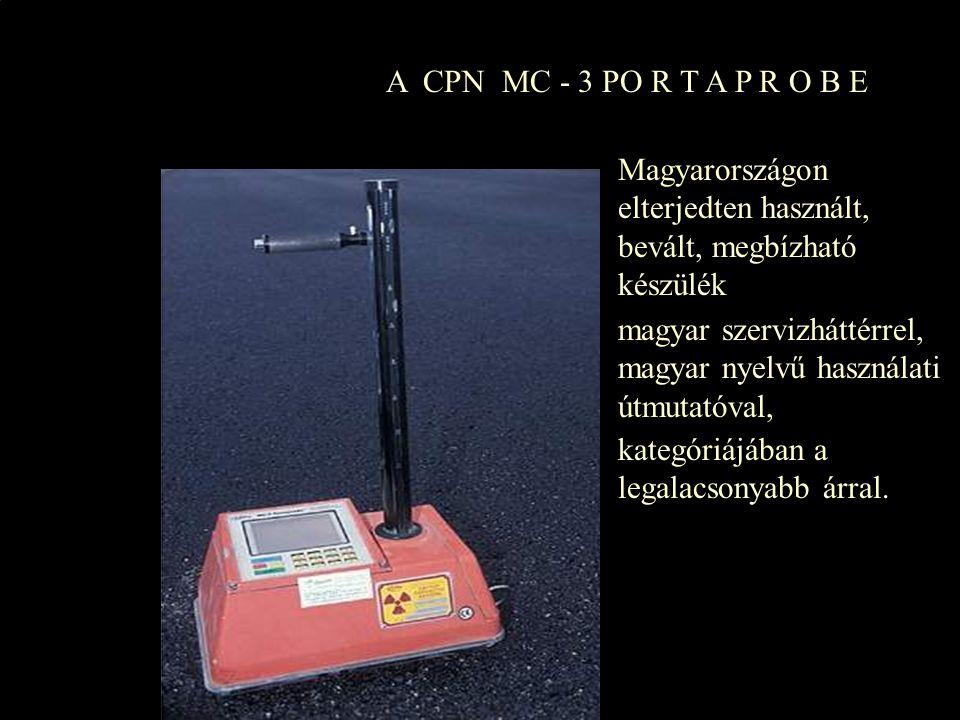 Az MC-3 PORTAPROBE strapabíró, biztonságos műszer talajok, burkolatok sűrűségének és nedvességtartalmának helyszíni gyors és pontos méréséhez.