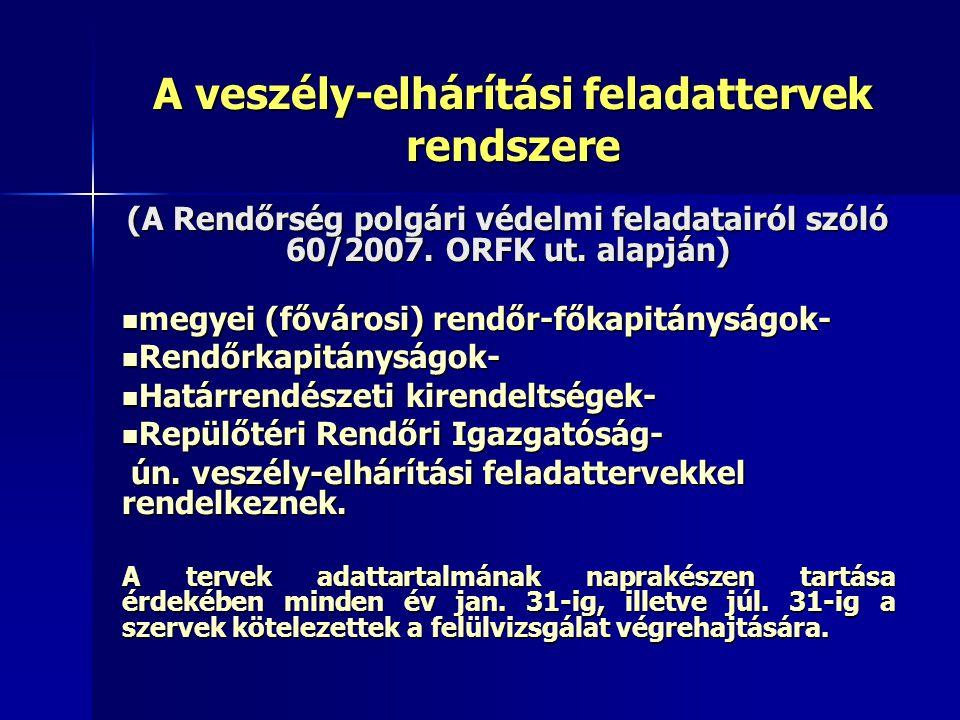 A veszély-elhárítási tervek: A polgári védelmi tervezés rendszeréről és követelményeiről szóló 20/1998.