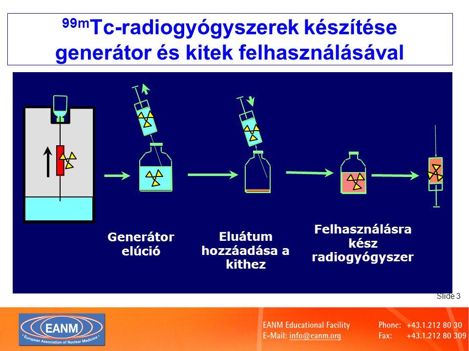Slide 24 99m Tc-radiogyógyszerek készítése Higiéniai kérdések Berendezés: –Ellenőrzött körülmények –Lamináris áramlású fülke Ruházat Tisztítási kérdések: –Anyagok –Kitek –Munkaterület Microbiológiai Monitorozás Rendszeres továbbképzés Fertőtlenítés használat előtt A LAF tisztítása, fertőtlenítése