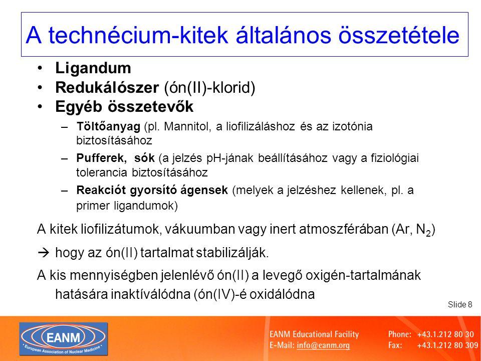 Slide 9 Egy példa a Tc-kit összetételére: DMSA (Technescan ® ) Dimerkapto-borotyánkősav1,2 mg Ón(II)-klorid0,252 mg Inozitol- NaCl- Nitrogen-  Ligandum  Redukálószer  Töltőanyag  Izotónia biztosítása  Inert gáz