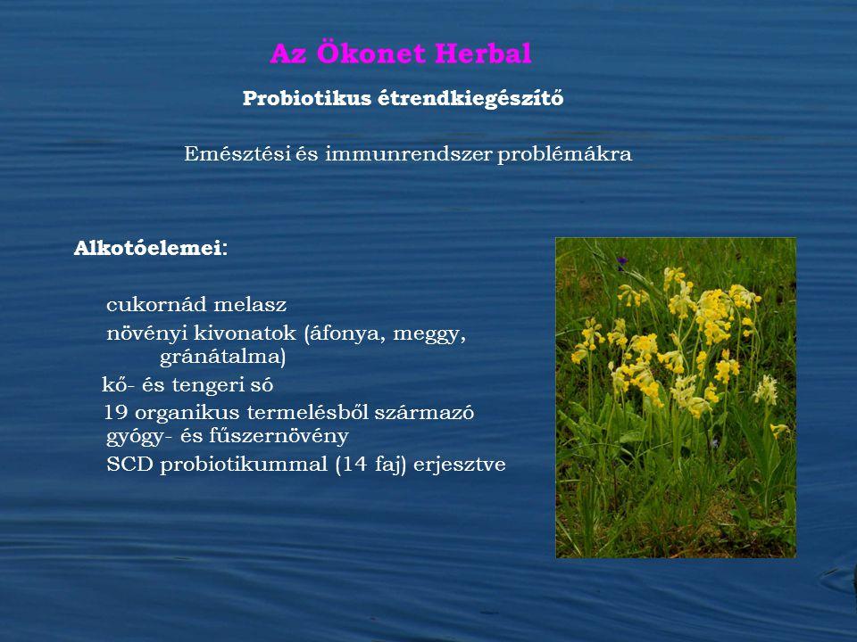 Az Ökonet Herbal Alkotóelemei : cukornád melasz növényi kivonatok (áfonya, meggy, gránátalma) kő- és tengeri só 19 organikus termelésből származó gyóg