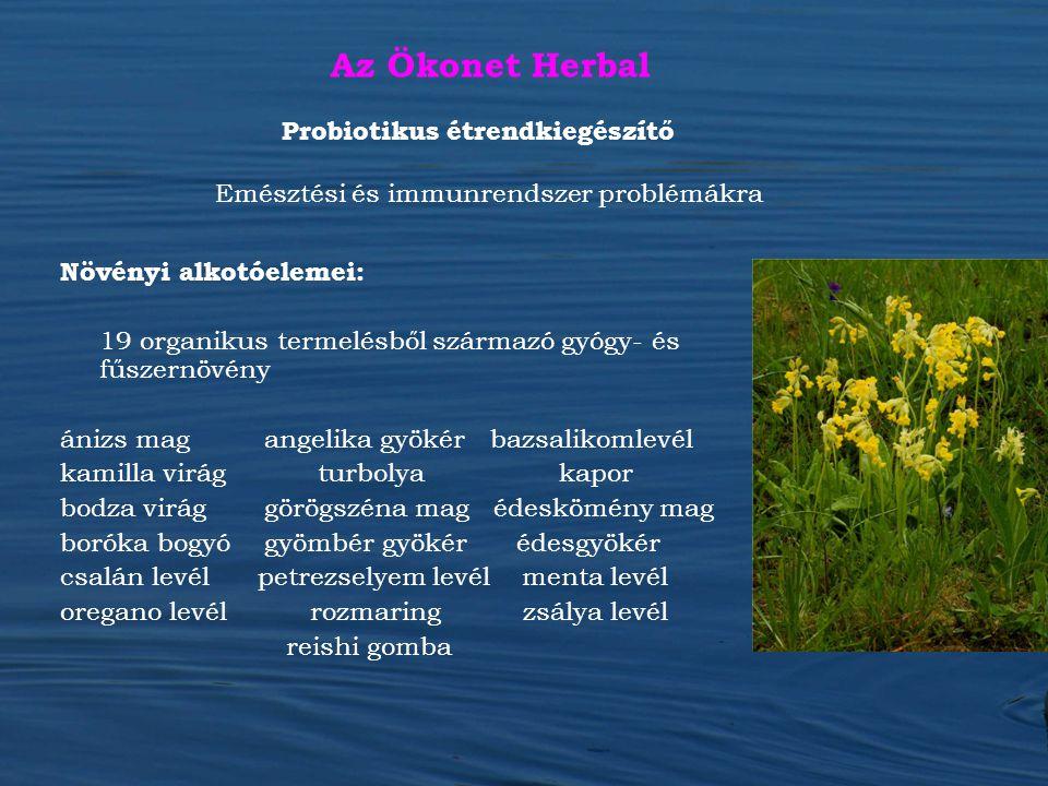 Az Ökonet Herbal Növényi alkotóelemei: 19 organikus termelésből származó gyógy- és fűszernövény ánizs mag angelika gyökér bazsalikomlevél kamilla virá