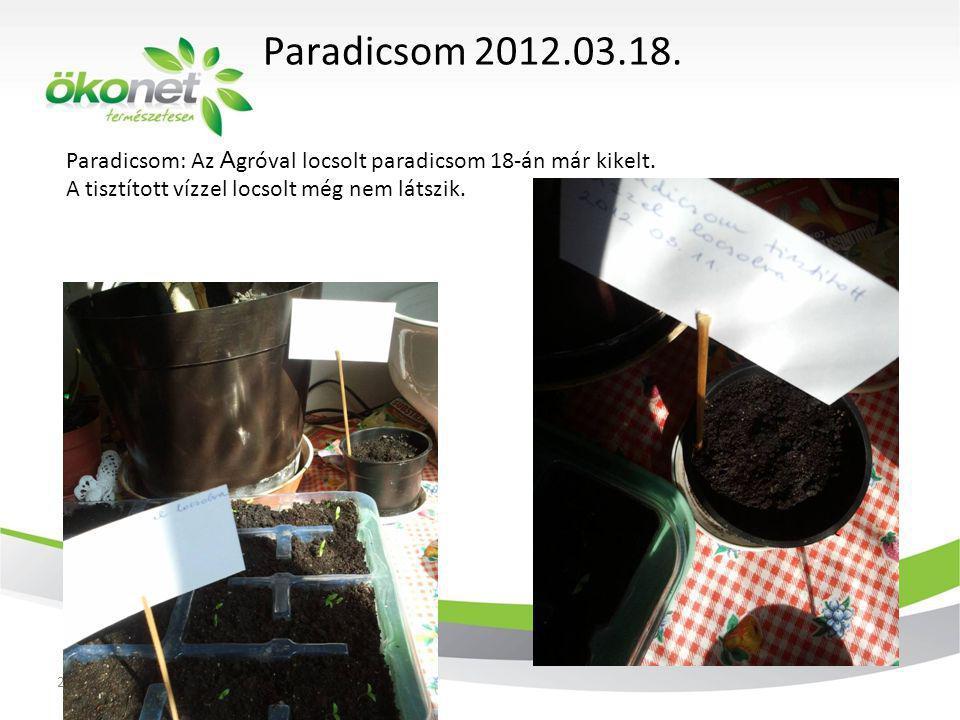 Paradicsom: Az A gróval locsolt paradicsom 18-án már kikelt. A tisztított vízzel locsolt még nem látszik. Paradicsom 2012.03.18. 2011. 12. 3.