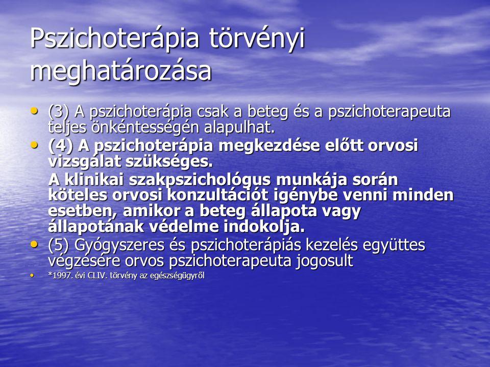 Pszichoterápia törvényi meghatározása (3) A pszichoterápia csak a beteg és a pszichoterapeuta teljes önkéntességén alapulhat. (3) A pszichoterápia csa
