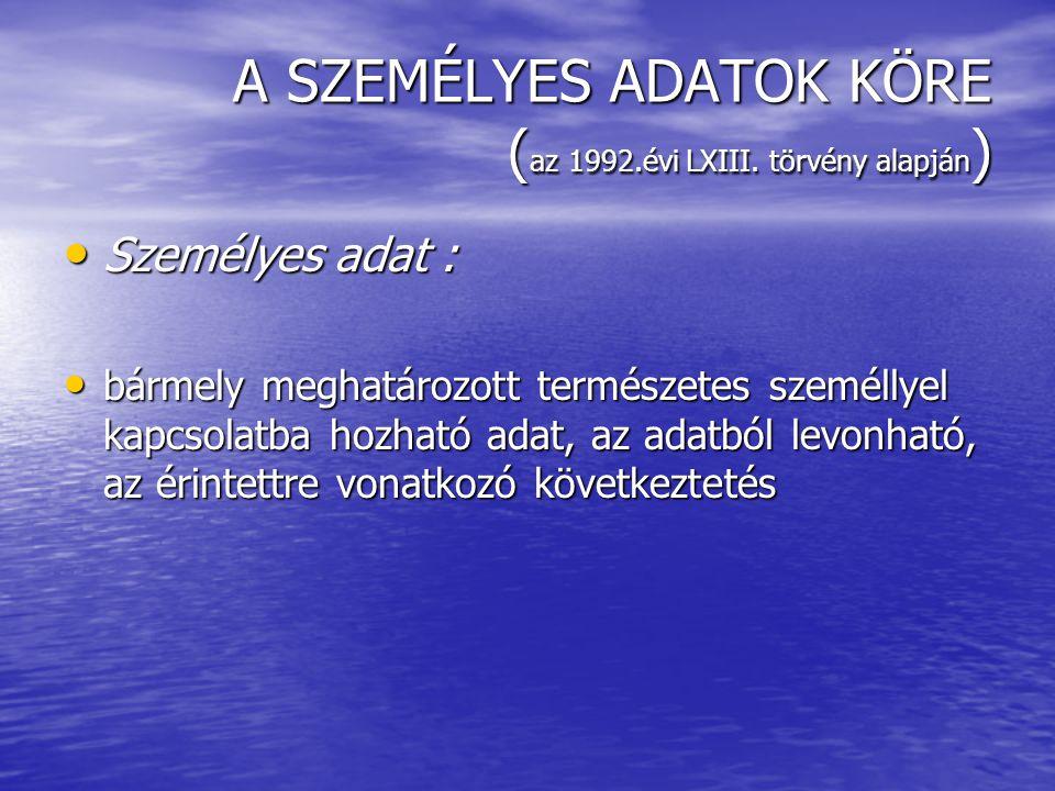 A SZEMÉLYES ADATOK KÖRE ( az 1992.évi LXIII.