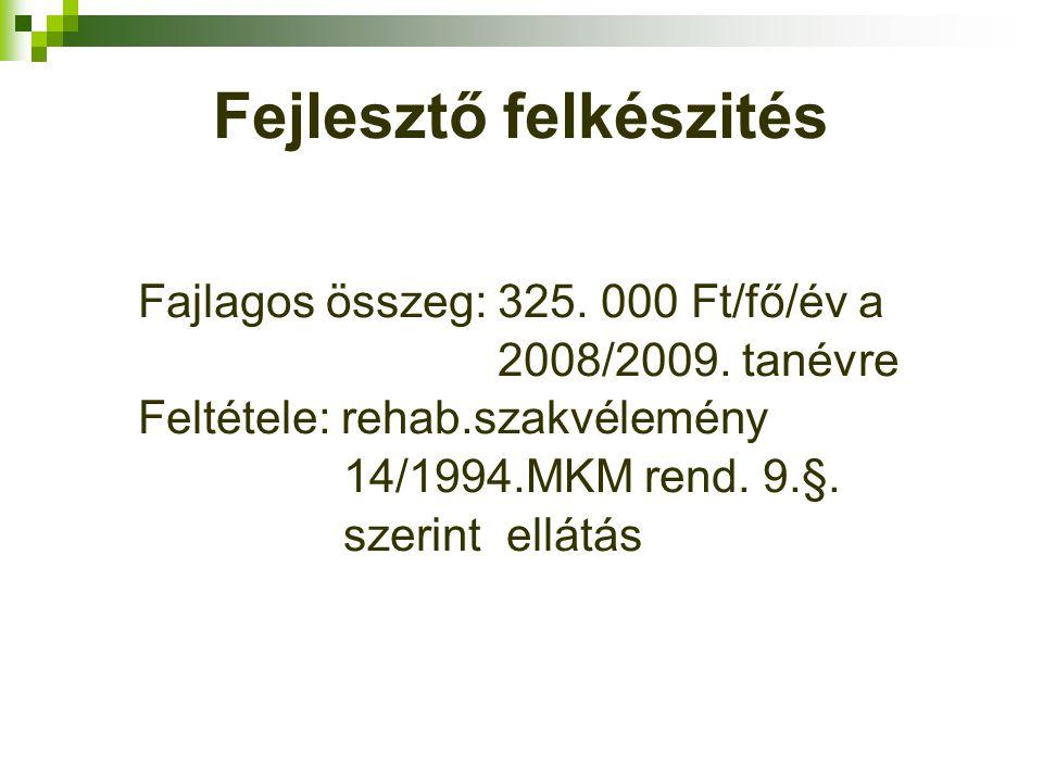 Fejlesztő felkészités Fajlagos összeg: 325. 000 Ft/fő/év a 2008/2009.