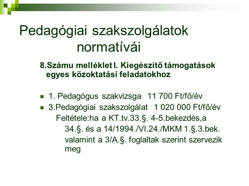 Pedagógiai szakszolgálatok normatívái 8.Számu melléklet I.