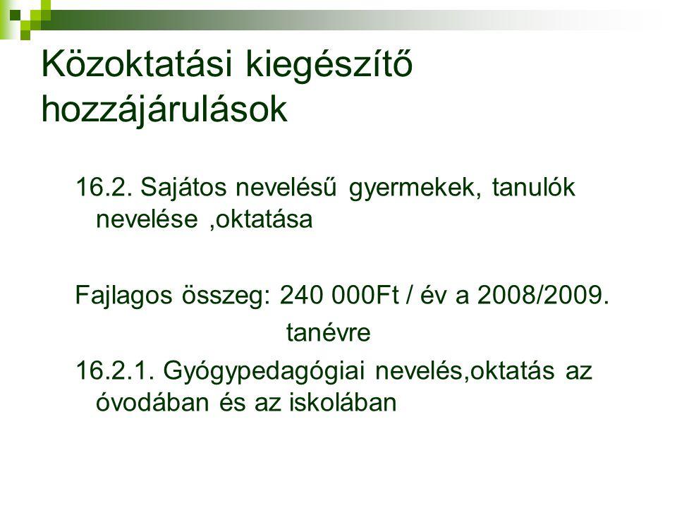 Közoktatási kiegészítő hozzájárulások 16.2.