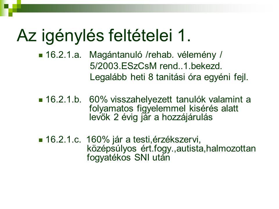 Az igénylés feltételei 1. 16.2.1.a. Magántanuló /rehab.