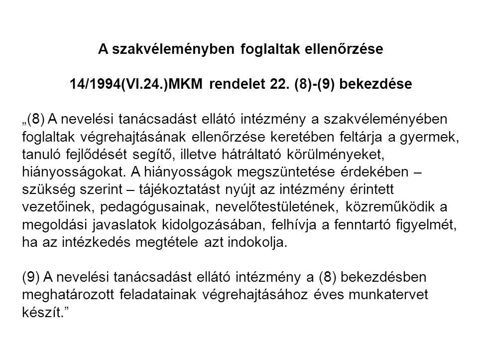 A szakvéleményben foglaltak ellenőrzése 14/1994(VI.24.)MKM rendelet 22.