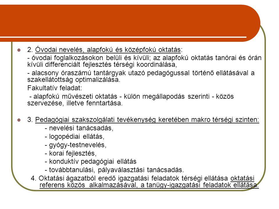 2. Óvodai nevelés, alapfokú és középfokú oktatás: - óvodai foglalkozásokon belüli és kívüli; az alapfokú oktatás tanórai és órán kívüli differenciált