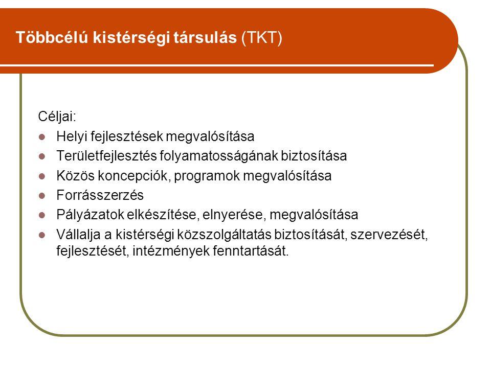 Többcélú kistérségi társulás (TKT) Céljai: Helyi fejlesztések megvalósítása Területfejlesztés folyamatosságának biztosítása Közös koncepciók, programo