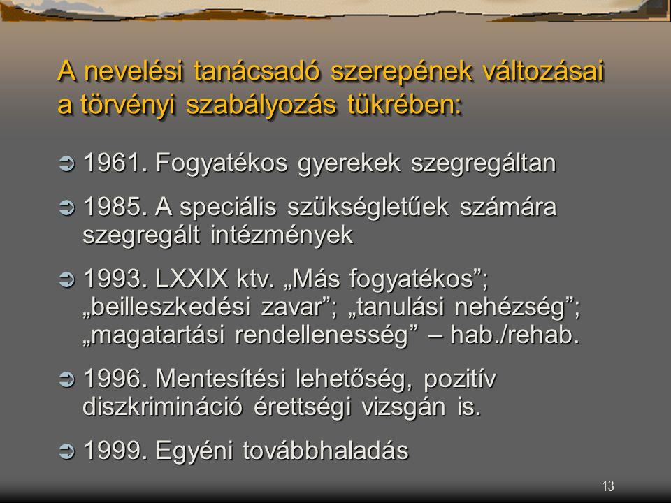 13 A nevelési tanácsadó szerepének változásai a törvényi szabályozás tükrében:  1961.