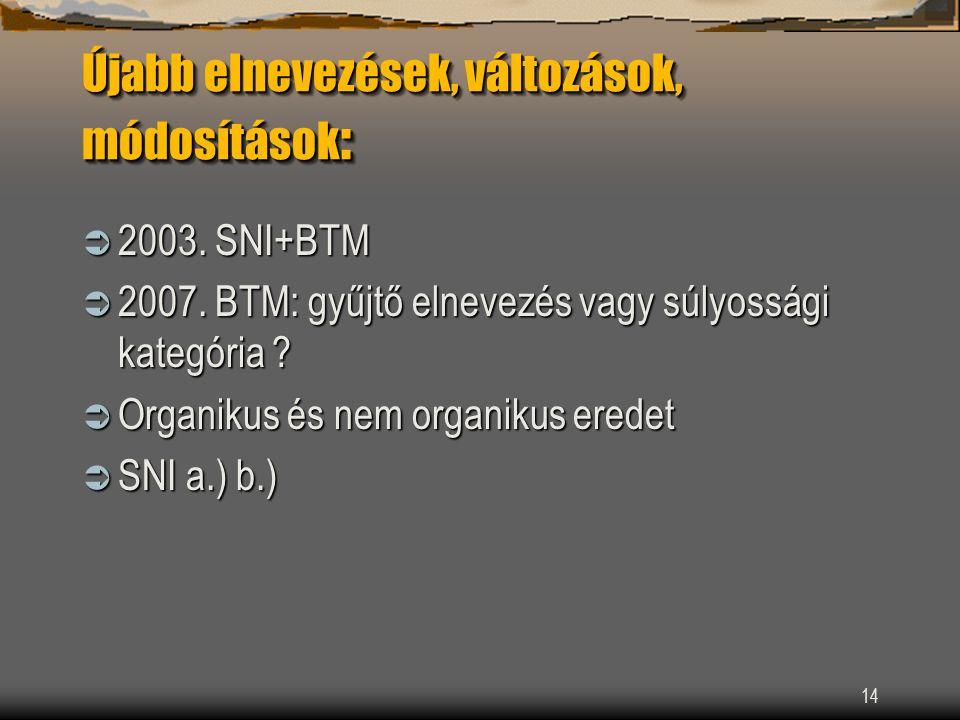 14 Újabb elnevezések, változások, módosítások :  2003.