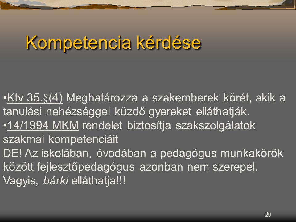 20 Kompetencia kérdése Ktv 35.§(4) Meghatározza a szakemberek körét, akik a tanulási nehézséggel küzdő gyereket elláthatják.