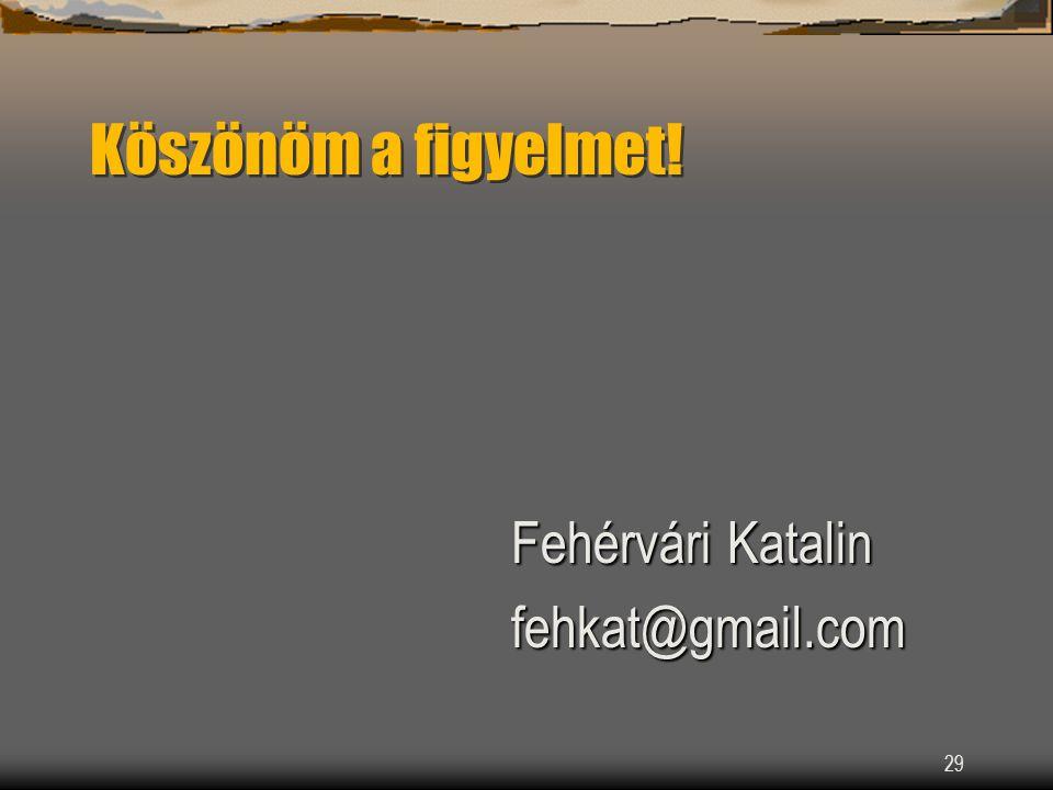 29 Köszönöm a figyelmet! Fehérvári Katalin fehkat@gmail.com