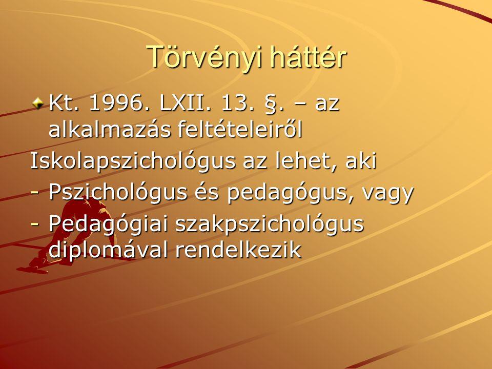 Törvényi háttér Kt. 1996. LXII. 13. §. – az alkalmazás feltételeiről Iskolapszichológus az lehet, aki -Pszichológus és pedagógus, vagy -Pedagógiai sza