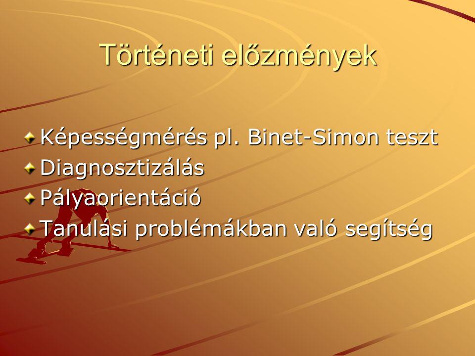 Történeti előzmények Képességmérés pl. Binet-Simon teszt DiagnosztizálásPályaorientáció Tanulási problémákban való segítség