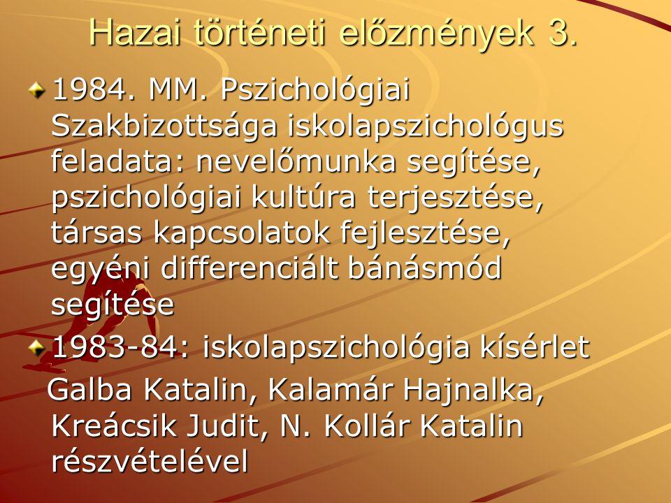 Hazai történeti előzmények 3. 1984. MM. Pszichológiai Szakbizottsága iskolapszichológus feladata: nevelőmunka segítése, pszichológiai kultúra terjeszt