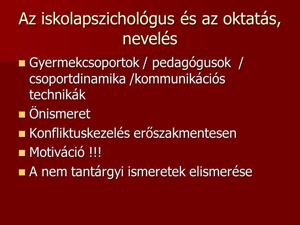 Az iskolapszichológus és az oktatás, nevelés Gyermekcsoportok / pedagógusok / csoportdinamika /kommunikációs technikák Gyermekcsoportok / pedagógusok