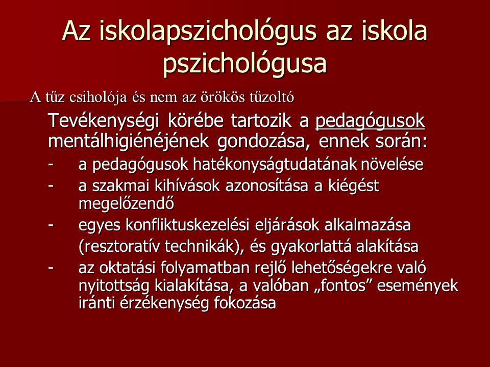 Az iskolapszichológus az iskola pszichológusa A tűz csiholója és nem az örökös tűzoltó Tevékenységi körébe tartozik a pedagógusok mentálhigiénéjének g